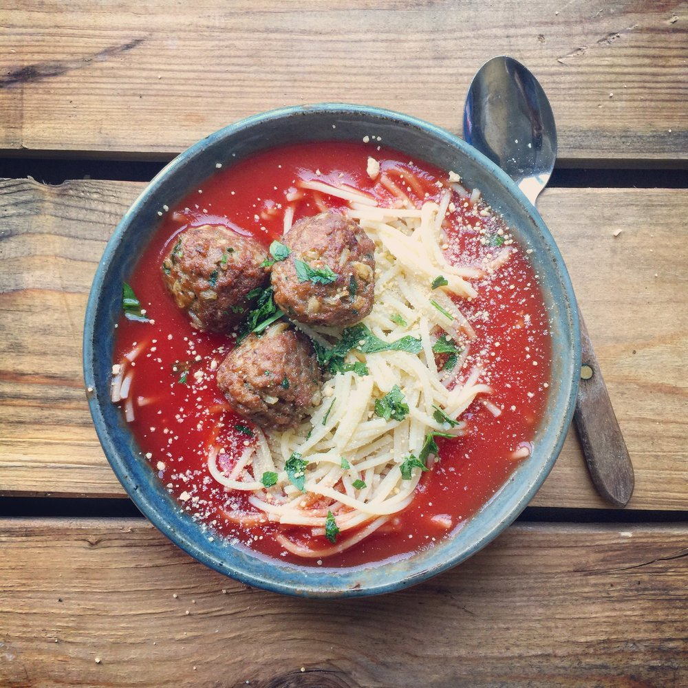 Spaghetti & Meatball Bone Broth Tomato Soup recipe made with bone broth created by Bone Brewhouse.