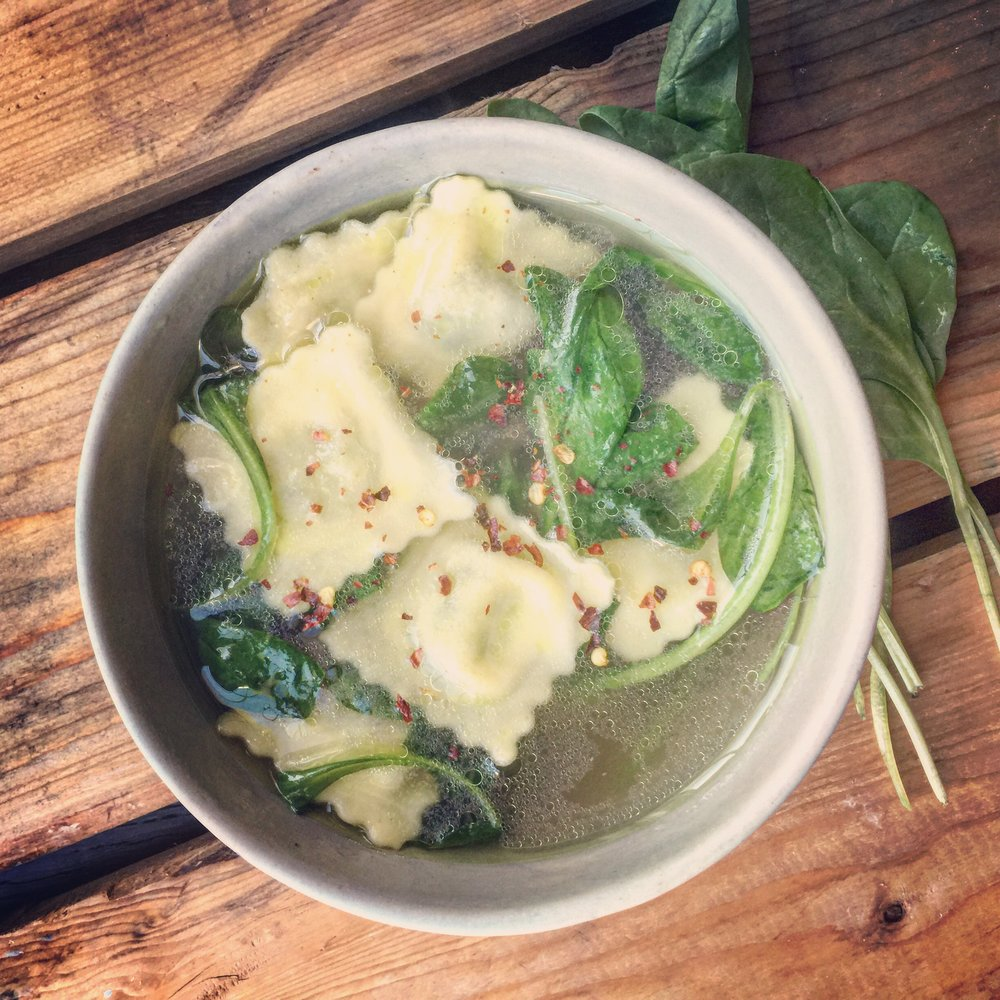 Ravioli & Spinach Bone Broth Soup recipe made with bone broth created by Bone Brewhouse.