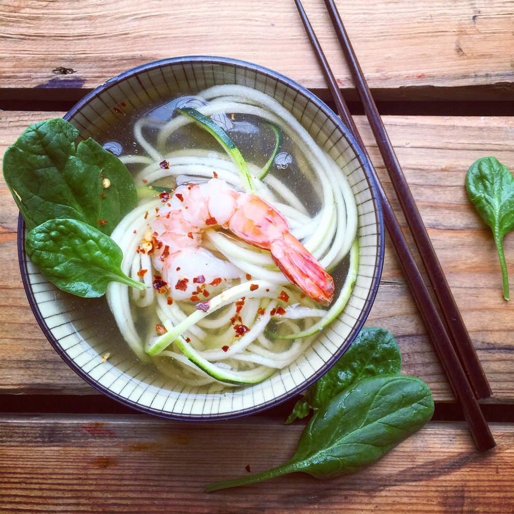 Zucchini Noodle Bone Broth Bowl recipe made with bone broth created by Bone Brewhouse.