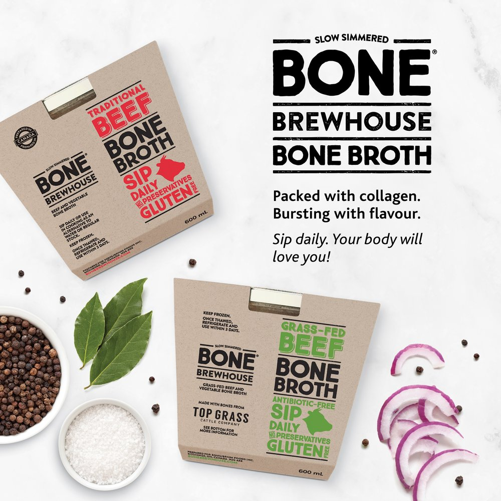 The packaging for Bone Brewhouse slow-cooked bone broth.