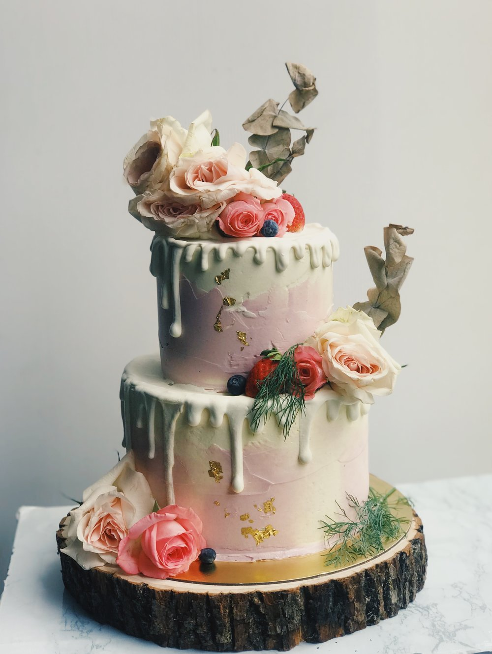 Pastel Pink White Drip Cake (With Flowers)