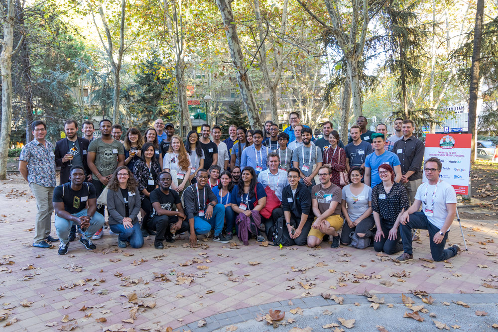 2018 ROSCon Diversity Sponsors, Diversity Committee, Organizing Committee and Scholarship Recipients.