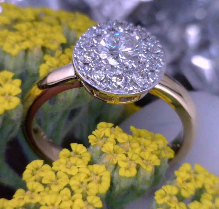 14k Yellow and white gold diamond cluster ring.png