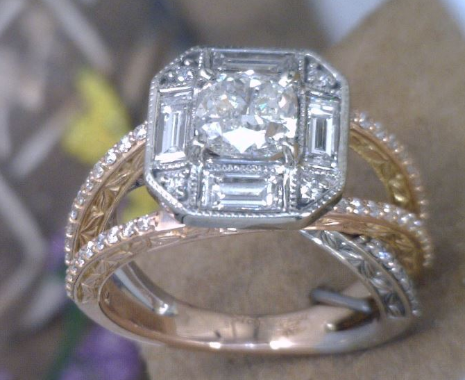 Asscher cut venter diamond with baguettes and round side diamonds in rose and white gold.png