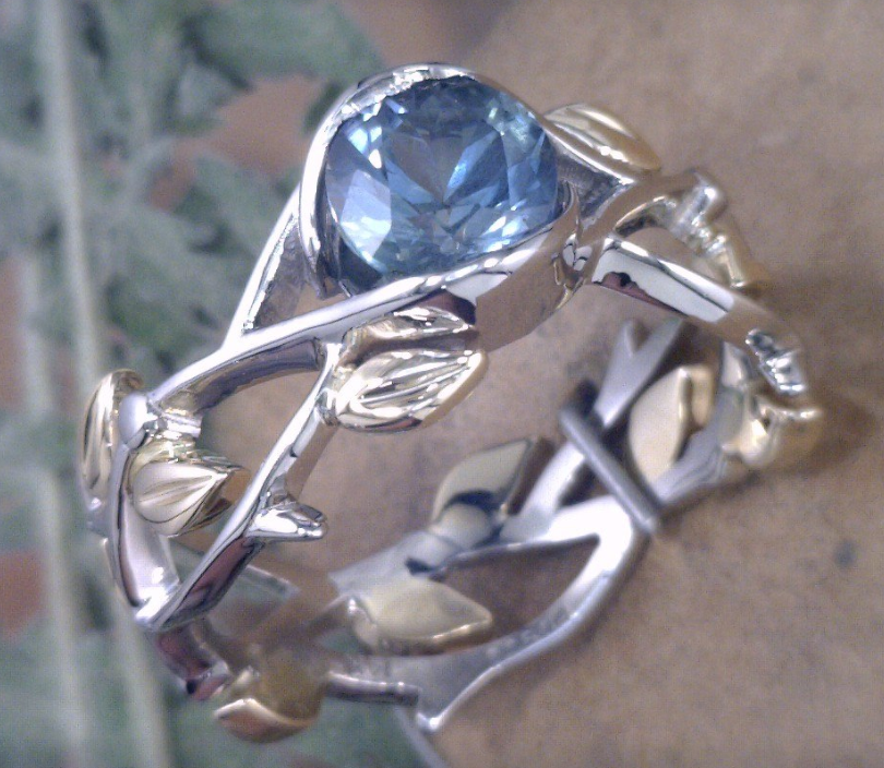 Montana Sapphire in nature inspired two tone Yellow and white gold ring.png