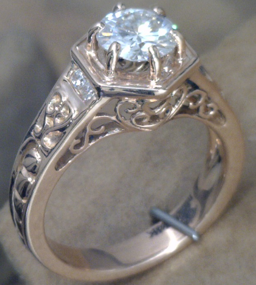 Rose gold filagree ring with .75 ct. Lab grown diamond.png