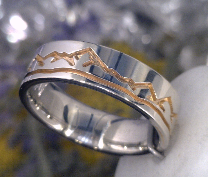 Two tone rose and white gold Wasatch mountain ring.png