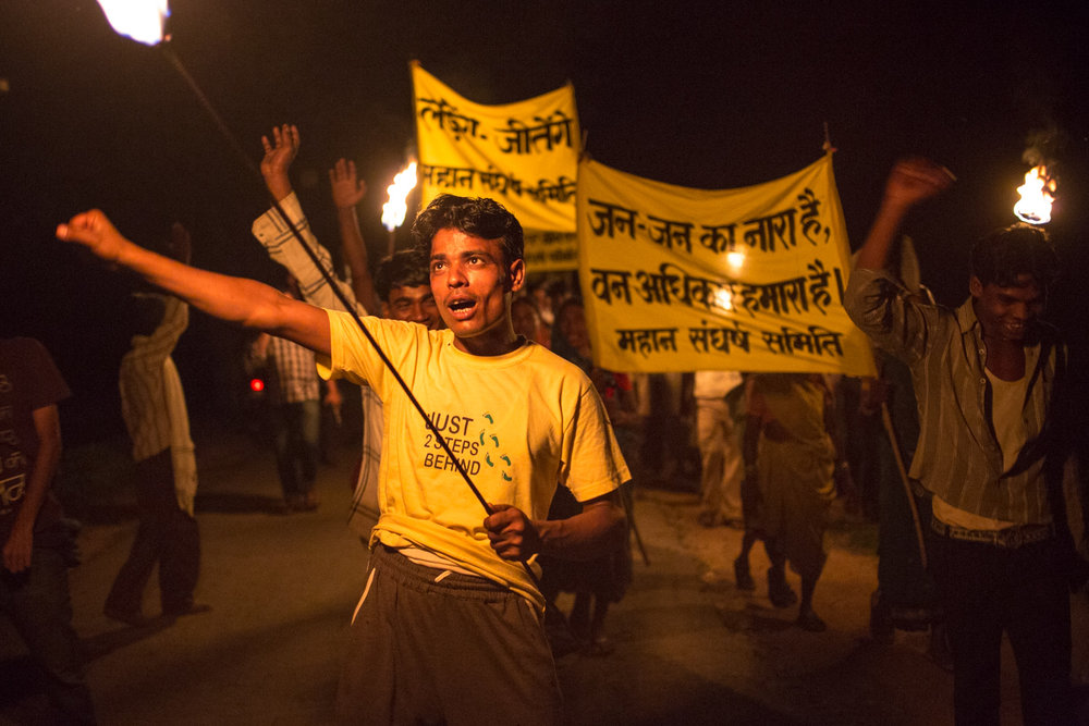A late-night protest against Mahan Coal Limited at Amelia village.