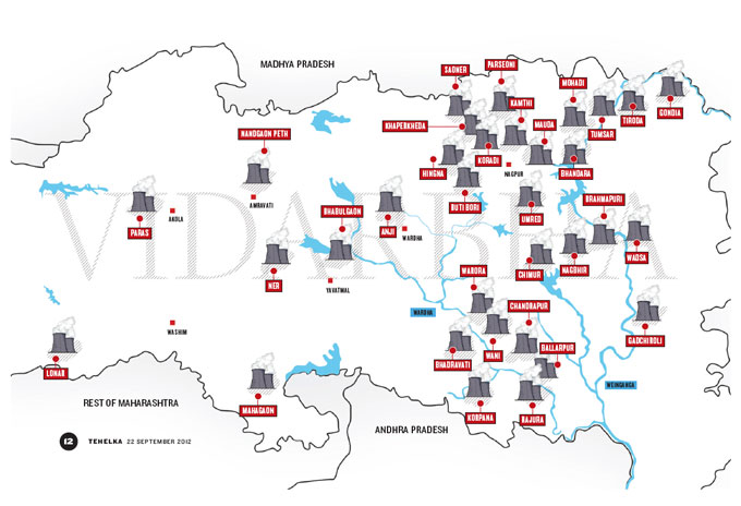 A map of the thermal power plants in Vidarbha. (Source: Tehelka, Sept 2012)