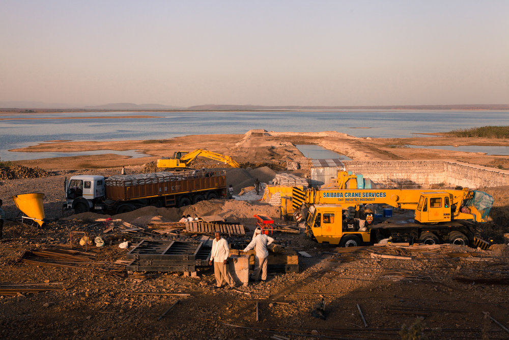 The pump house of a thermal power plant is being built on the shore of the Upper Wardha dam waters, Amravati district.