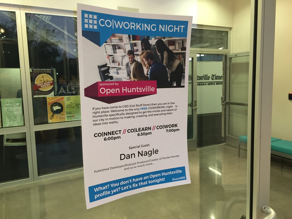 A flyer for CoWorking Night in October, 2015