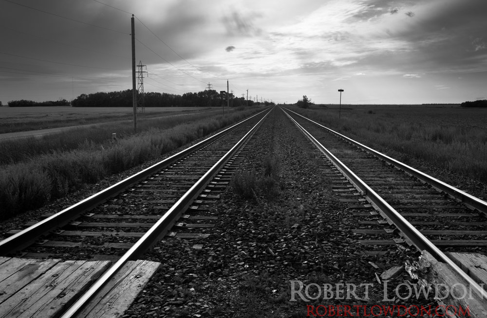 Railroad tracks on the prairies. © Robert Lowdon