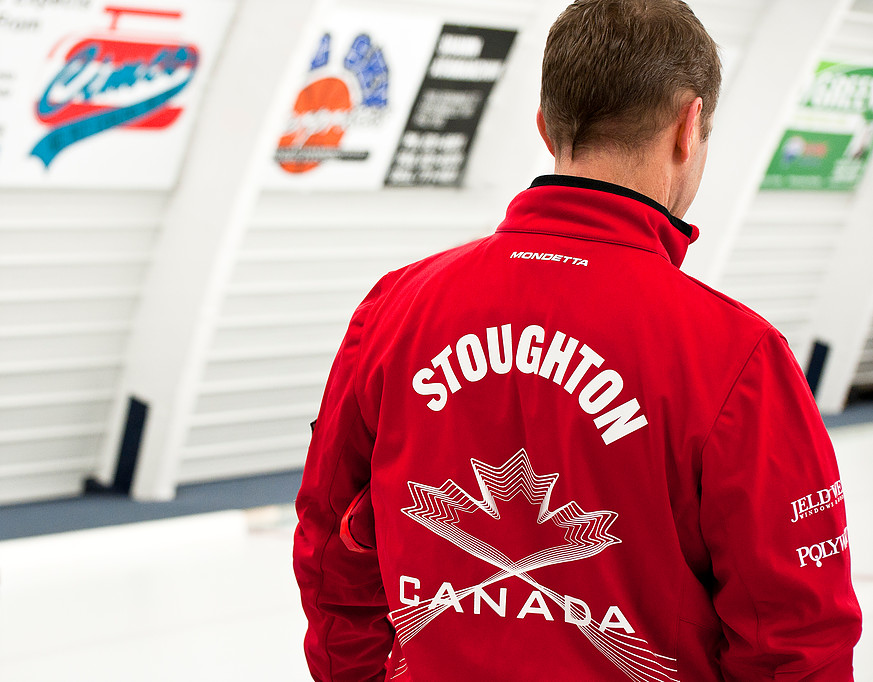 jeff stoughton curls at a manitoba curling rink
