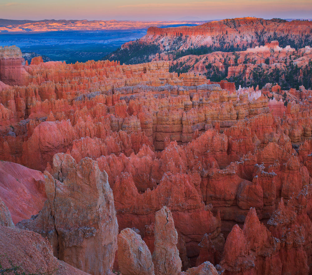 Bryce Canyon shortly after sun set.