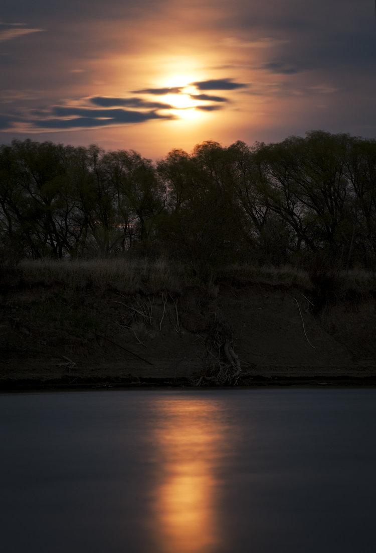 Late at night the moon illuminates the landscape