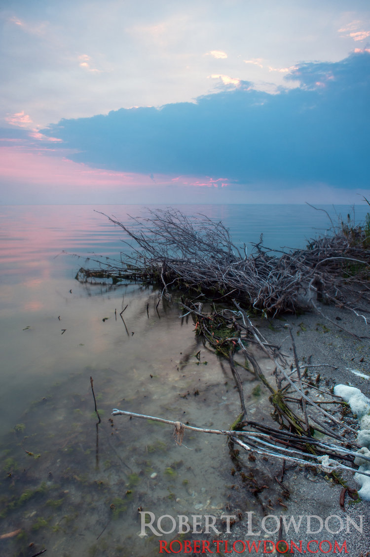 Lake Manitoba at Sunset. The Lake has seen increased levels of pollution causing algae growth.