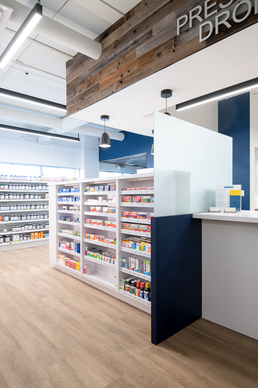 A vertical view of the new counter will stock aisles in the background.