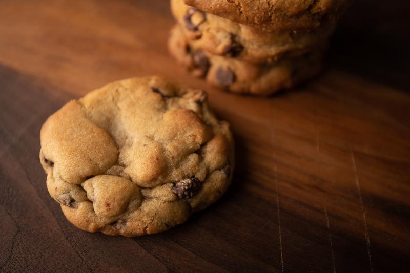 Stack of chocolate chip cookies. © Robert Lowdon