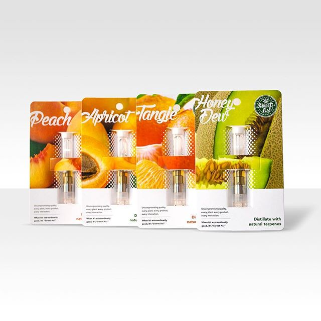 NEW FLAVORS! Be sure to try the new Sweet As!™ distillate cartridges. If you want a subtle twist on your distillate clouds then these all natural fruit flavors are just right! 🍊🍋🍈🍑