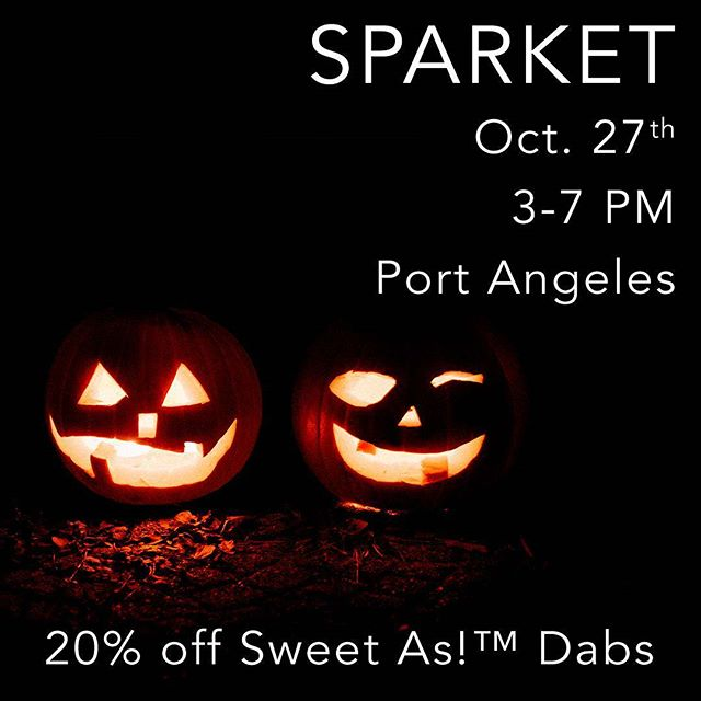 If you're up on the Peninsula, stop by @sparket_alt_health in #portangeles tomorrow night to stock up on goodies for the Halloween weekend. Members of the Sweet As!™ Team will be on site answering your questions about our flower and oils, with special discounts while we're in shop! #meetup #cannabiscommunity