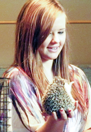 A student holds a hedgehog in the Mingling Area on Friday, November 16, 2012, as part of Mental Health Week. (Brady Knight / The Quill)