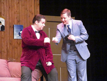 "Max Bialystock (left), portrayed by Jeremy Lancaster, with Leo Bloom (Clint McLachlan) during the matinée performance of ""The Producers"" on Sunday, January 27, 2013. (Brady Knight / The Quill)"