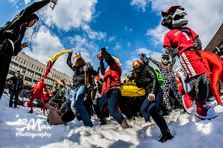 Stony Brook University students participating in their own Harlem Shake. (max_wei / Flickr)
