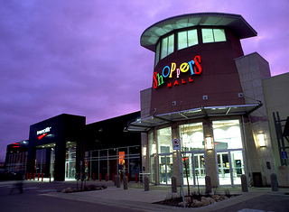 File photo. Brandon's Shoppers Mall by night. (Economic Development Brandon / Flickr)