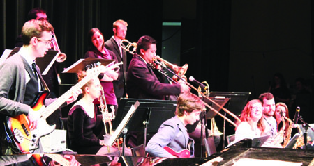 The BU Jazz Ensemble I on-stage at the WMCA. (Sarra Dziver)