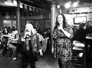 Carissa Taylor (right) at karaoke night at SUDS with BU President Dr. Deborah Poff (left)during Snowientation. (Jenna Clinton)