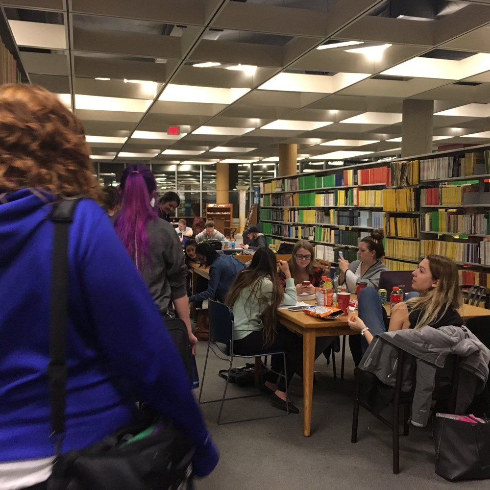 Students study in the library at a previous Long Night Against Procrastination. (Krista Murray / The Quill)