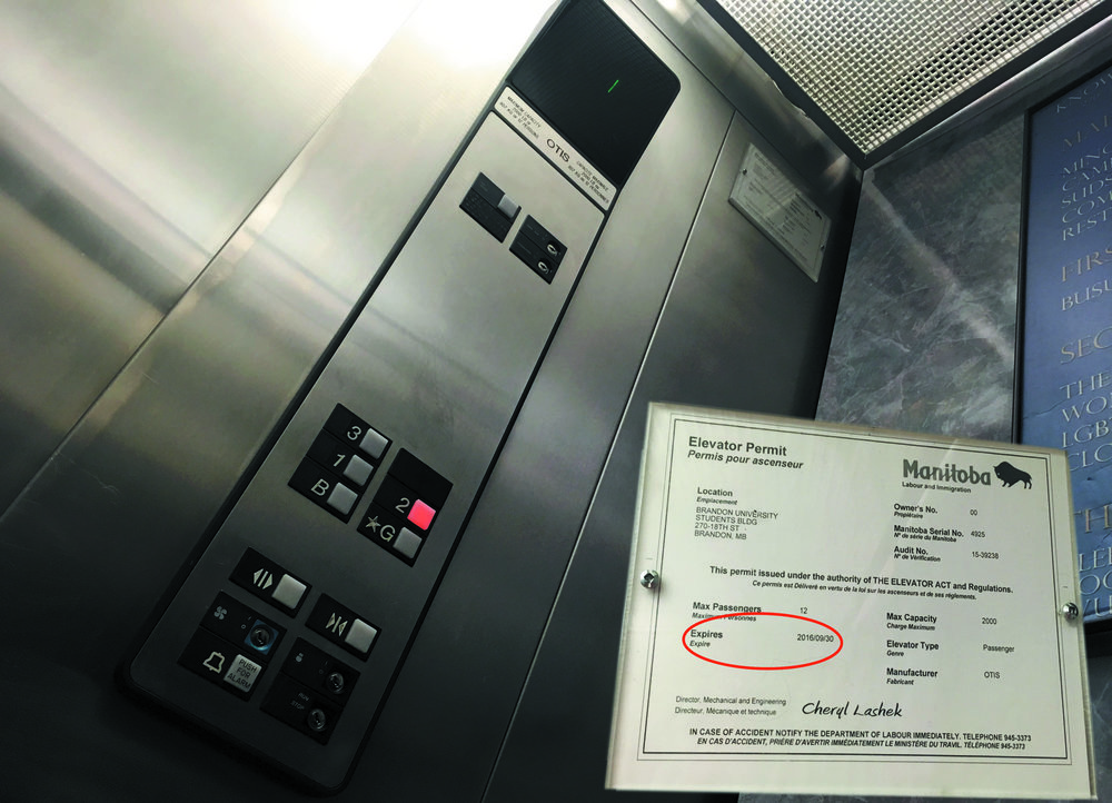The elevator and its permit, located in the Knowles Douglas Centre. (Krista Murray/The Quill)