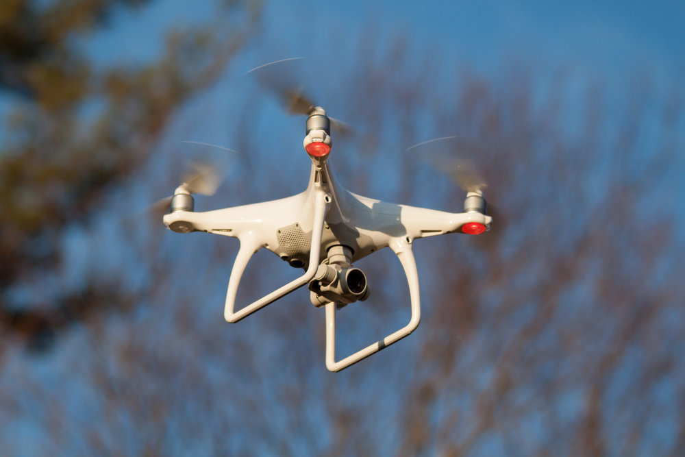 A quadcopter drone in flight. (Doodybutch/Wikimedia Commons under    CC-BY-SA    4.0)