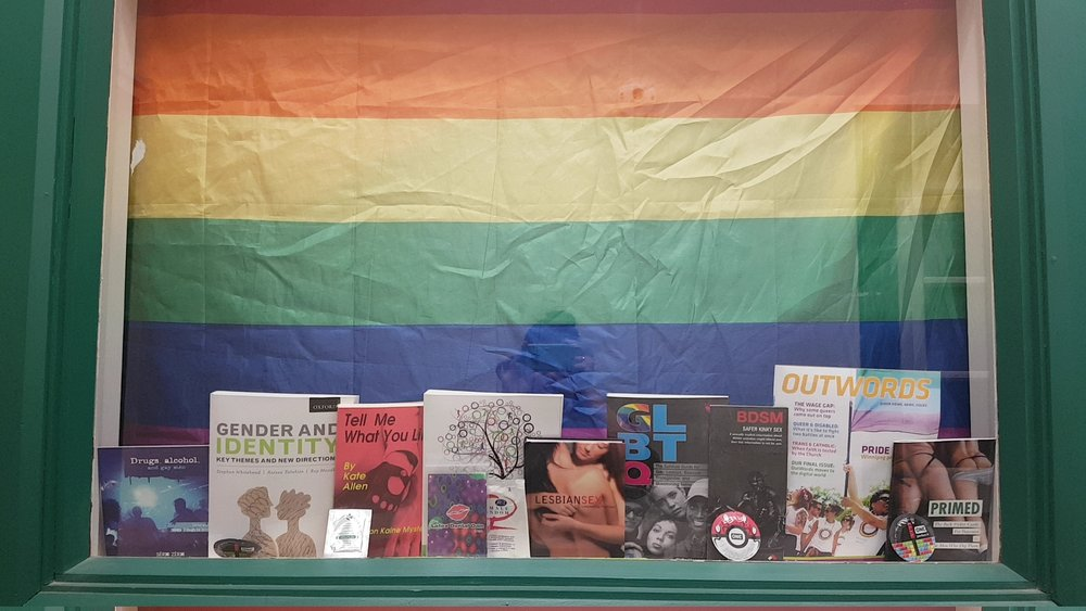 Women's/LGBTTQ* Collective window. (Ariele Kehler/The Quill)