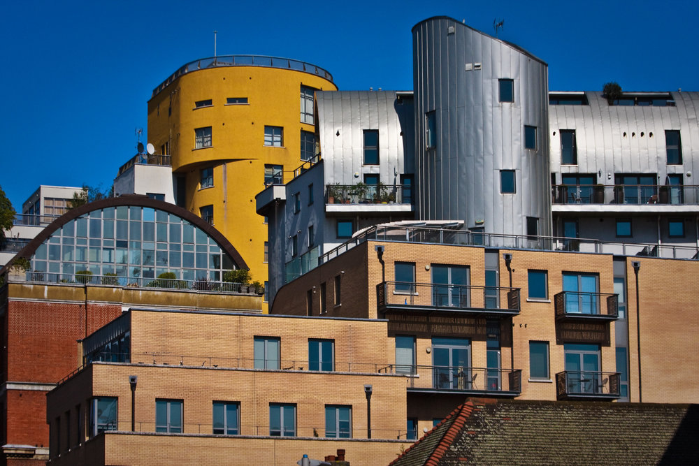Postmodern architecture seen along the Thames riverside. (Garry Knight/Flickr under  CC BY 2.0 )