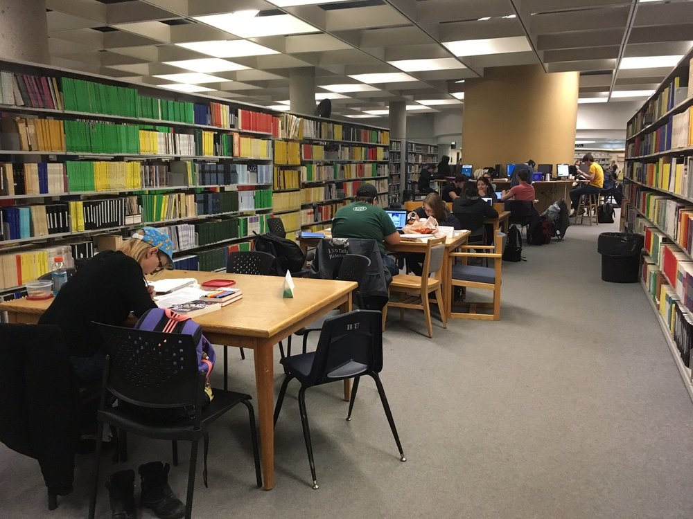 Students at the John E. Robbins Library. (Krista Murray/The Quill)