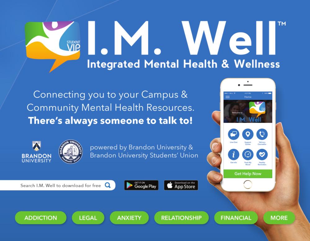 I.M. Well app info. (Brandon University Students' Union)