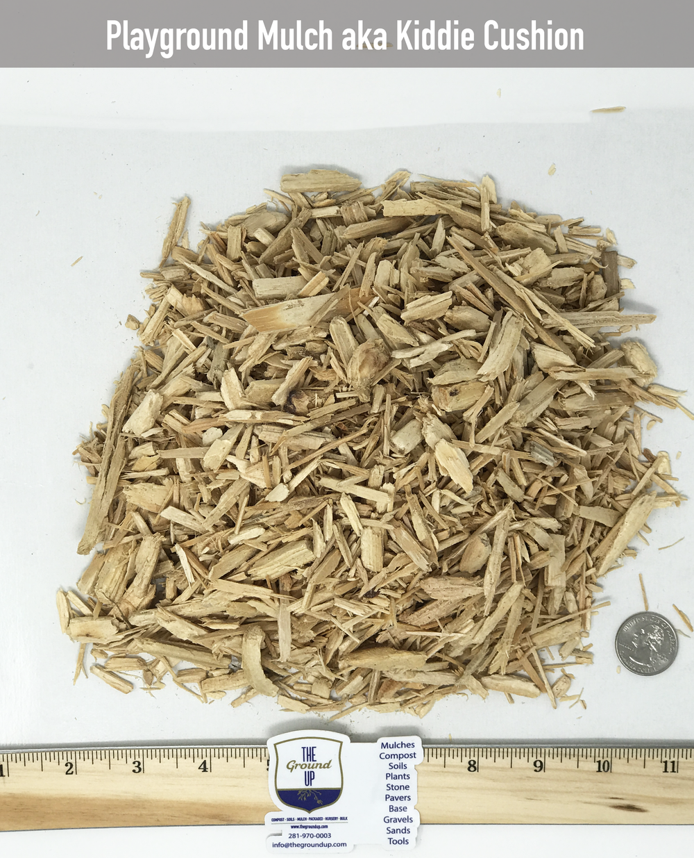 Playground Mulch aka: Kiddie Cushion $35/cuyd  Chipped virgin Pine and/or Red Oak. This material is tested for playground applications.