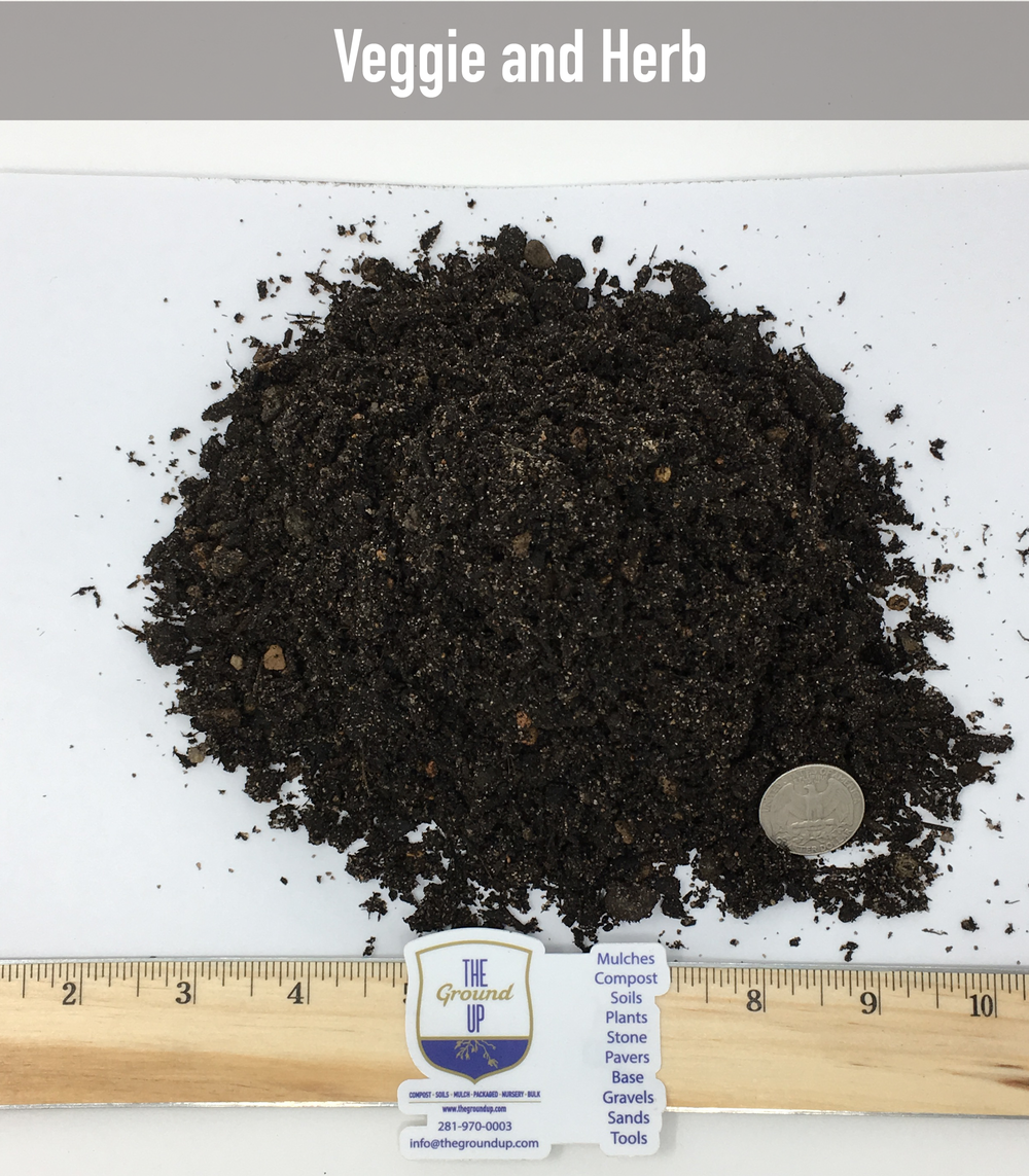 Veggie & Herb Soil $80/cuyd  Our most popular soil for raised beds, in ground beds, growing vegetables, herbs, fruit trees. Made from a base of our Vegan Compost and mixed with large grain angular sand, green sand, composted pine bark, expanded shale and inoculated with a high performance trace mineral pack.