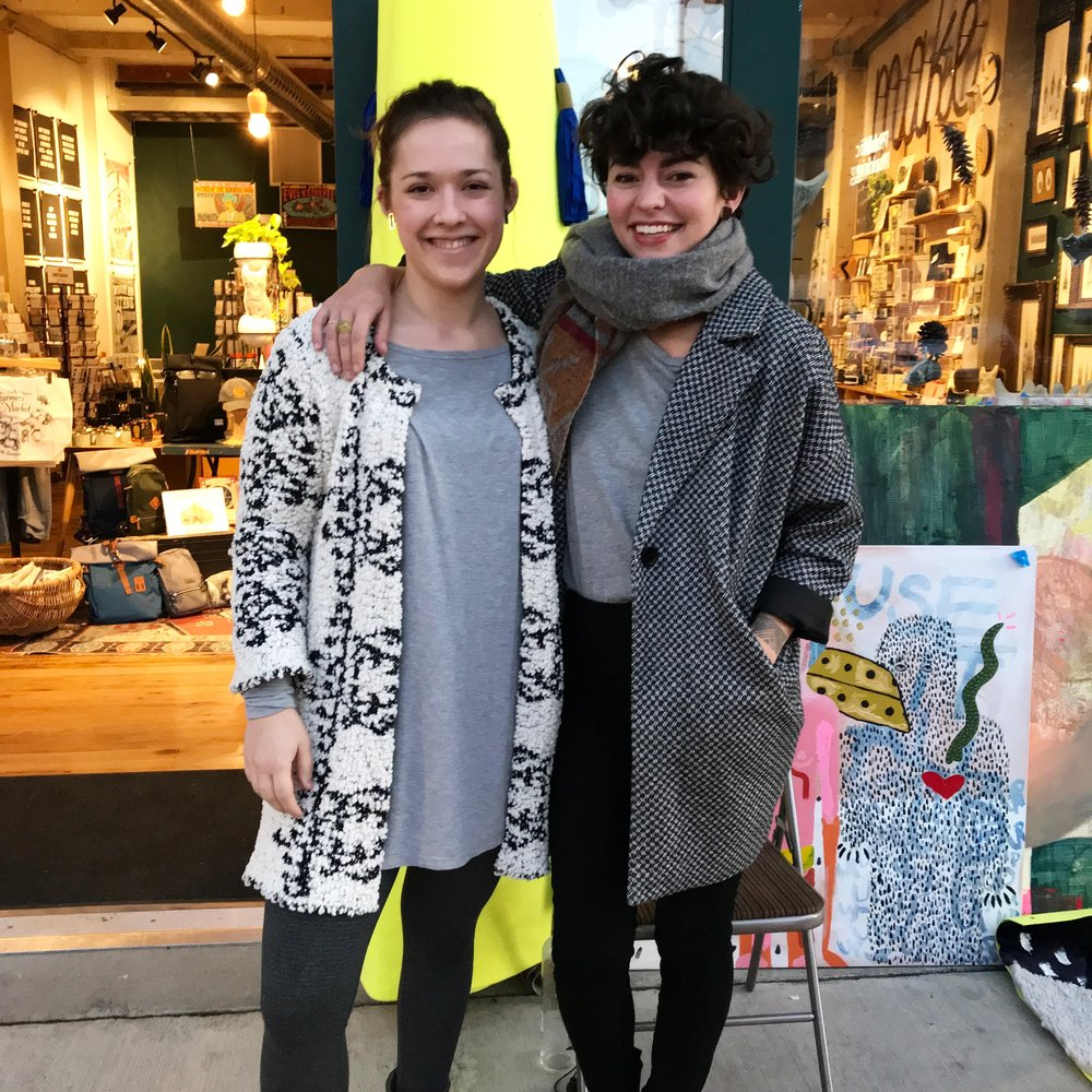 I learned a lot from collaborating with this lady, Paris of  Paris Woodhull Illustrations , and it even led to a DIY kit concept I'm exploring in 2018! Behind her is  RALA , a shop where I sell jewelry and teach workshops!