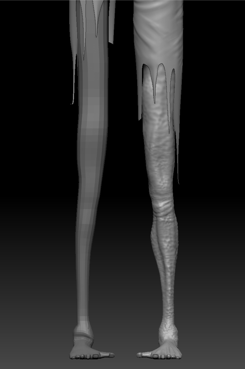 Here is an example of his legs before and after sculpting.