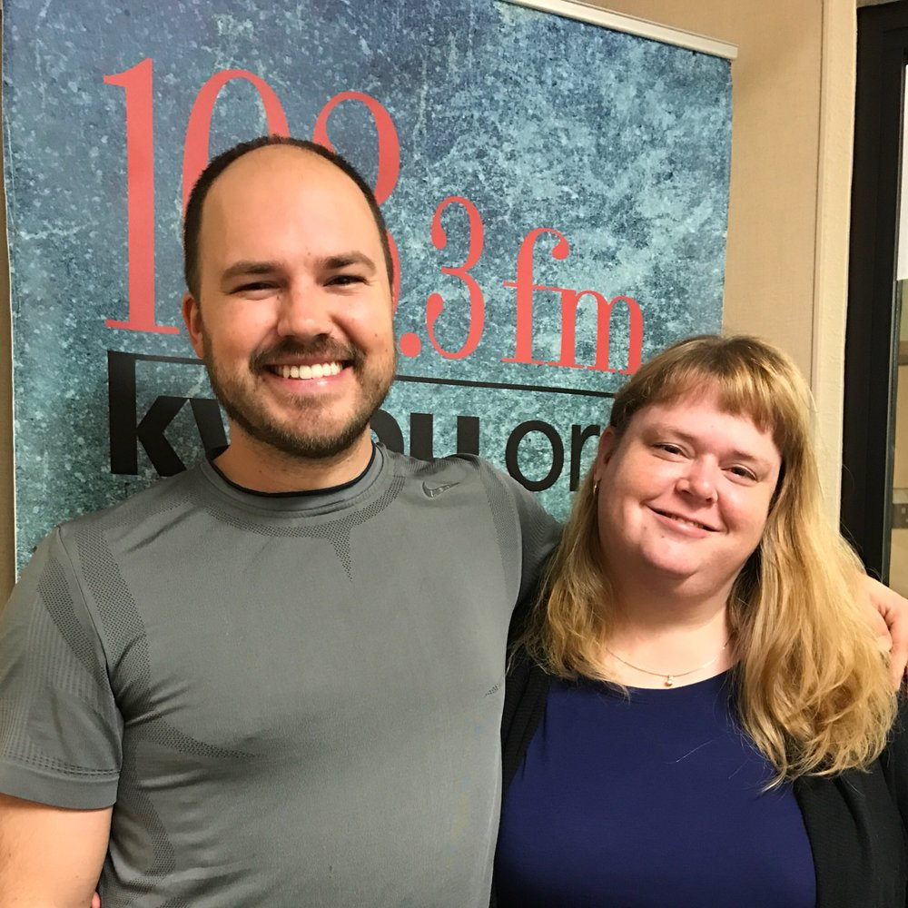 Austin Meek, host of Downtown Depot, with Wendy Gragg