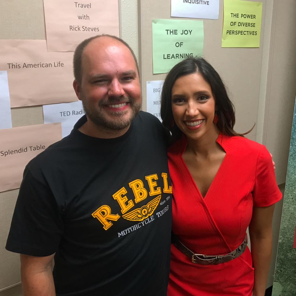 Host Austin Meek with Taina Maya