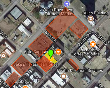 Yellow is Jake's Texas Tea House at 613 Austin; Orange is the available off-street parking within one block of Jake's.