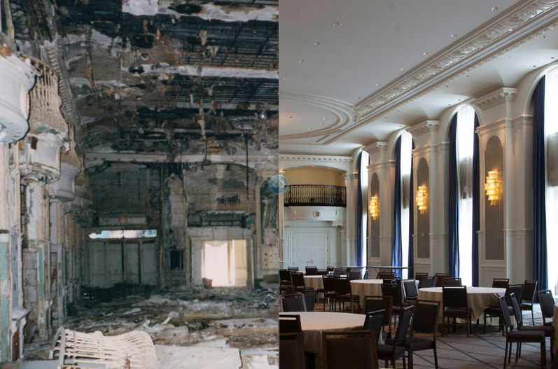 Book-Cadillac Hotel, 2001 (L) and 2014 (R)