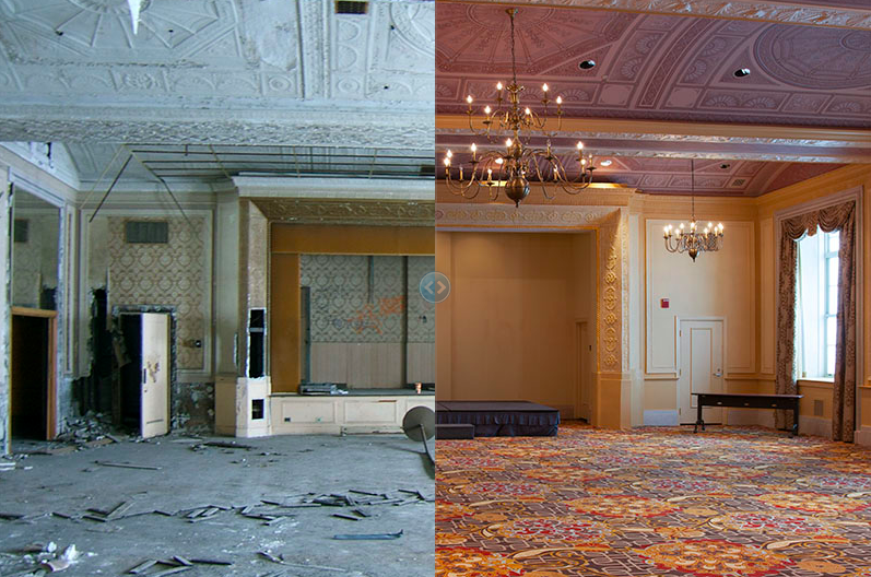 Fort Shelby Hotel Ballroom, 2006 (L) and 2013 (R)