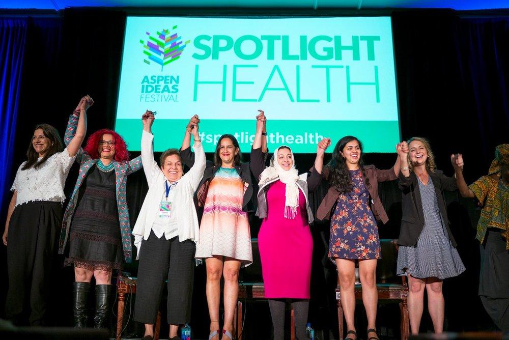 """Aspen Ideas Festival 2016 """"Girls Unleashed"""" session. Left to right: Reshma Saujani, Mona Eltahawy, Donna Shalala, Farah Galant, Rasha Jarhum, Riya Sigh, Sofia Caballero and Musimbi Kanyoro. Image: The Aspen Institute"""