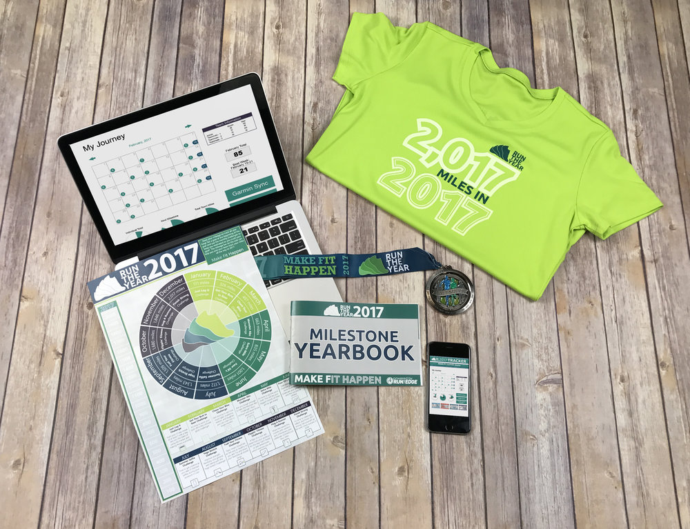 "The Run The Year ""Get It All"" Registration package includes ALL the swag - the shirt, milestone yearbook, medal, and poster!"