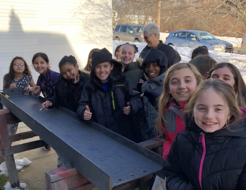 Beam Signing - All of our students and teachers had an opportunity to sign a beam during the week of January 8th. This weekend, the beam was added to the school giving everyone in our Saccarappa Family the opportunity to BE a piece of Saccarappa history!
