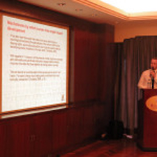 Ciaran Haughton presenting at the Grand Hotel in Taipei, Taiwan